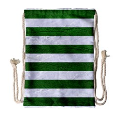 Stripes2 White Marble & Green Leather Drawstring Bag (large)