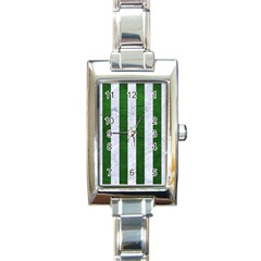 Stripes1 White Marble & Green Leather Rectangle Italian Charm Watch