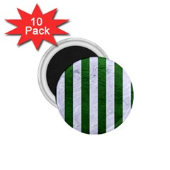 Stripes1 White Marble & Green Leather 1 75  Magnets (10 Pack)