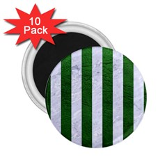 Stripes1 White Marble & Green Leather 2 25  Magnets (10 Pack)