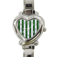 Stripes1 White Marble & Green Leather Heart Italian Charm Watch
