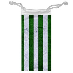 Stripes1 White Marble & Green Leather Jewelry Bags