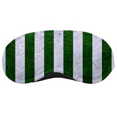 Stripes1 White Marble & Green Leather Sleeping Masks