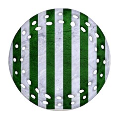Stripes1 White Marble & Green Leather Round Filigree Ornament (two Sides)