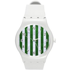 Stripes1 White Marble & Green Leather Round Plastic Sport Watch (m)