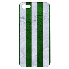 Stripes1 White Marble & Green Leather Apple Iphone 5 Hardshell Case