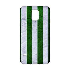 Stripes1 White Marble & Green Leather Samsung Galaxy S5 Hardshell Case