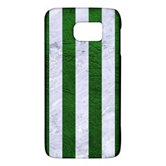 Stripes1 White Marble & Green Leather Samsung Galaxy S6 Hardshell Case