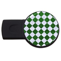Square2 White Marble & Green Leather Usb Flash Drive Round (4 Gb)