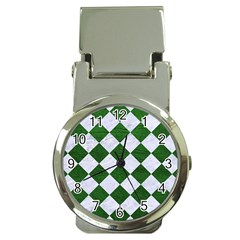 Square2 White Marble & Green Leather Money Clip Watches