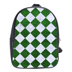 Square2 White Marble & Green Leather School Bag (large)
