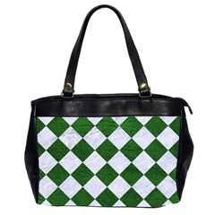 Square2 White Marble & Green Leather Office Handbags (2 Sides)