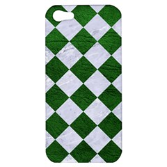 Square2 White Marble & Green Leather Apple Iphone 5 Hardshell Case