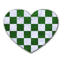 Square1 White Marble & Green Leather Heart Mousepads