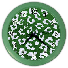 Skin5 White Marble & Green Leather (r) Color Wall Clock