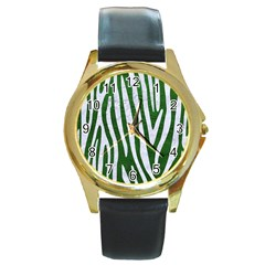 Skin4 White Marble & Green Leather (r) Round Gold Metal Watch