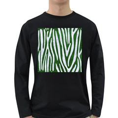 Skin4 White Marble & Green Leather (r) Long Sleeve Dark T Shirt