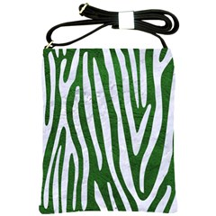 Skin4 White Marble & Green Leather (r) Shoulder Sling Bags
