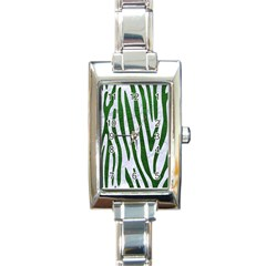 Skin4 White Marble & Green Leather Rectangle Italian Charm Watch