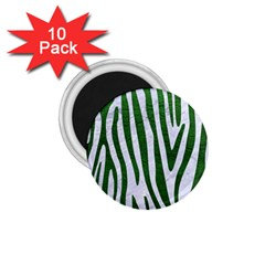 Skin4 White Marble & Green Leather 1 75  Magnets (10 Pack)
