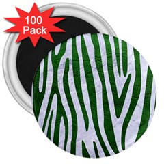 Skin4 White Marble & Green Leather 3  Magnets (100 Pack)