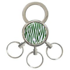Skin4 White Marble & Green Leather 3 Ring Key Chains