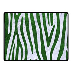 Skin4 White Marble & Green Leather Fleece Blanket (small)