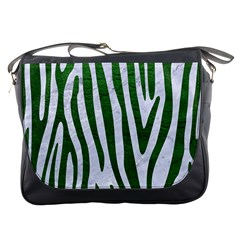 Skin4 White Marble & Green Leather Messenger Bags