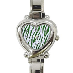 Skin3 White Marble & Green Leather (r) Heart Italian Charm Watch