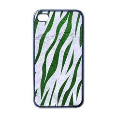 Skin3 White Marble & Green Leather (r) Apple Iphone 4 Case (black)