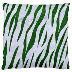 Skin3 White Marble & Green Leather (r) Large Cushion Case (two Sides)