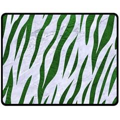 Skin3 White Marble & Green Leather (r) Double Sided Fleece Blanket (medium)