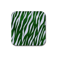 Skin3 White Marble & Green Leather Rubber Coaster (square)