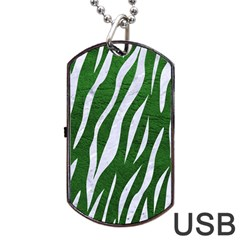 Skin3 White Marble & Green Leather Dog Tag Usb Flash (two Sides)