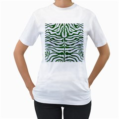 Skin2 White Marble & Green Leather (r) Women s T Shirt (white) (two Sided)
