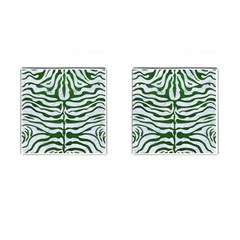 Skin2 White Marble & Green Leather (r) Cufflinks (square)