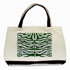 Skin2 White Marble & Green Leather (r) Basic Tote Bag