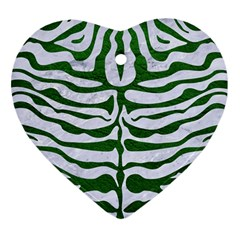 Skin2 White Marble & Green Leather (r) Heart Ornament (two Sides)