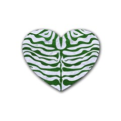 Skin2 White Marble & Green Leather (r) Heart Coaster (4 Pack)