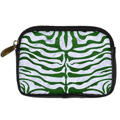 Skin2 White Marble & Green Leather (r) Digital Camera Cases