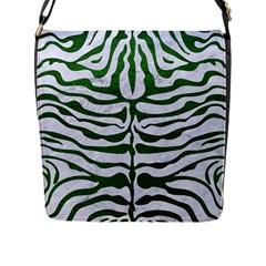 Skin2 White Marble & Green Leather (r) Flap Messenger Bag (l)