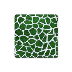 Skin1 White Marble & Green Leather (r) Square Magnet