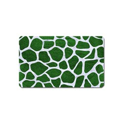 Skin1 White Marble & Green Leather (r) Magnet (name Card)