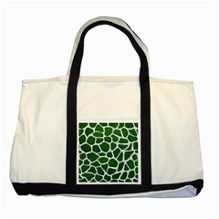 Skin1 White Marble & Green Leather (r) Two Tone Tote Bag