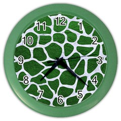 Skin1 White Marble & Green Leather (r) Color Wall Clock