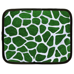 Skin1 White Marble & Green Leather (r) Netbook Case (xl)