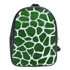 Skin1 White Marble & Green Leather (r) School Bag (large)