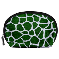 Skin1 White Marble & Green Leather (r) Accessory Pouches (large)