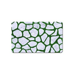 Skin1 White Marble & Green Leather Magnet (name Card)