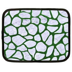 Skin1 White Marble & Green Leather Netbook Case (xxl)